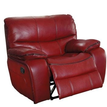 Leather Upholstered Glider Reclining Chair, Red