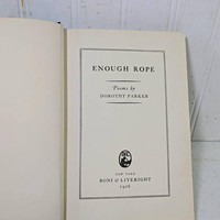 Enough Rope Poems by Dorothy Parker Book First Edition Fourth Printing