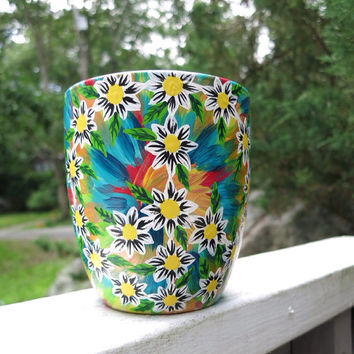 Hand painted tie dye and daisy peace sign mug