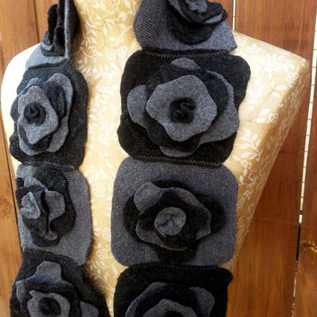 Felted Flower Scarf, Upcycled Wool, Charcoal & Heather Gray
