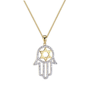 Star Of David Hamsa Hand Pendant Chain 14k Gold Over Sterling Silver Lab Diamond