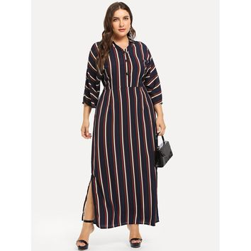Plus Button Front Belted Striped Dress
