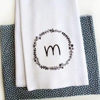 Personalized Kitchen Towel With Floral Wreath And Initial Letter Tea Towel Kitchen Towel Home Decor Gift