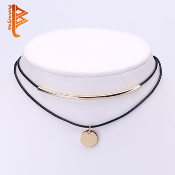 Boho Choker Gold-color Coins Pendant Shell Choker Necklace Women Jewelry Black Velvet Leather Chockers Necklaces Collier Femme