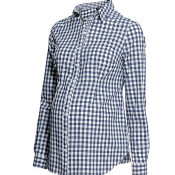 H&M - MAMA Cotton Shirt - Blue - Ladies