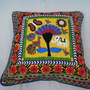 Suzani Throw Pillow Embroidered Decorative Cushion Cover Soft Furnishing Gift for New Home 16x16