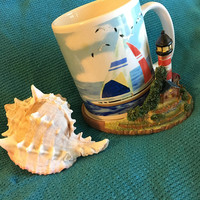 Sailboat Mug Vintage Ceramic Sailing Beach Ocean Theme Cup With Seagulls and Sailboats in Lighthouse Holder Red White Blue Nautical Design