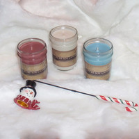 3 Soy Candles with Snowman Snuffer, Christmas Gift Set, LIMITED TIME ONLY - 8 oz Hand Poured Soy Candles, Mason Jar Custom Scent,