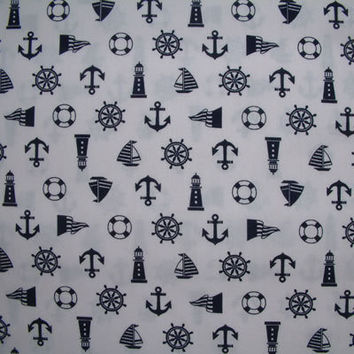 Nautical steering wheel cover print white navy blue boats anchors lighthouse car