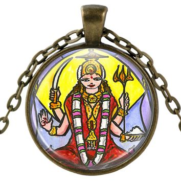 "Goddess Parvati Mother of Ganesh for Love & Devotion 1"" Round Pendant & Chain"