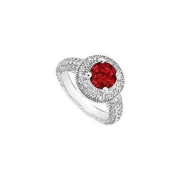 Ruby and Diamond Halo Engagement Ring : 14K White Gold - 2.15 CT TGW