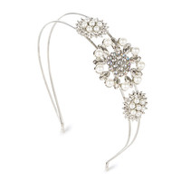 Pearl and Crystal Flower Headband