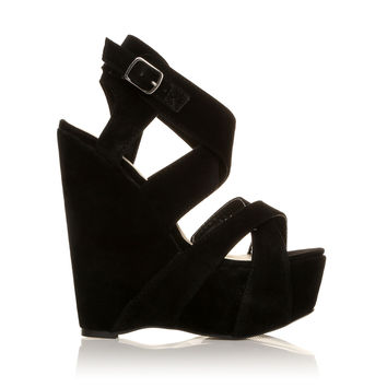 H30 Black Faux Suede Wedge Very High Heel Strappy Platform Shoes