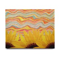 "Suzanne Carter ""Sunflower Dreaming "" Yelllow Teal Birchwood Wall Art"