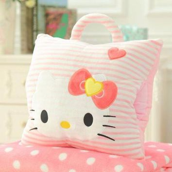 Cute Plush Pillow / Blanket / Hand Warmer - Free Shipping - Hello Kitty (stripes)