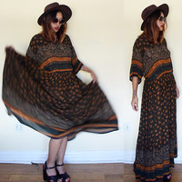 Vintage XL beaded tribal native ethnic oversized india indian hippie boho bohemian festival brown wrinkle maxi dress extra large