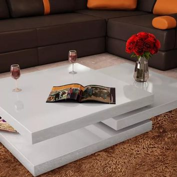 VidaXL Coffee Table 3 Tiers High Gloss White Dining Room Furniture Sideboards Modern Changable Table For Living Room