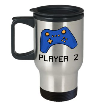 Video Gamer Travel Mug ~ Player 2 ~ Blue Game Controller