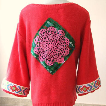 Women's Upcycled Clothing, Upcycled Boho Sweater, Knit Sweater with doily applique and Native Tribal Trim, size medium, ooak