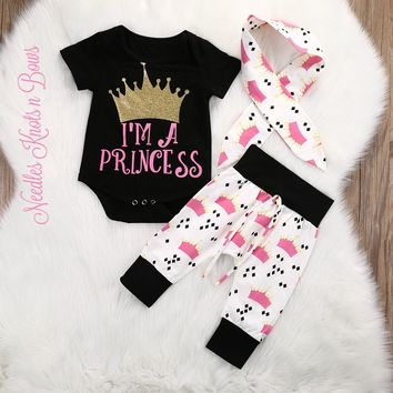 "Baby Girls Princess, Coming Home Outfit, Baby Girls ""I'm a Princess"" 3 pc Outfit, Infant Clothes, Baby Shower Gift"