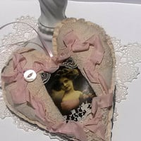 Victorian Heart Ornament Pink Cream Romantic Home Decor