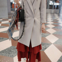 Classic Solid Tone Double-Breasted Coat - Miamasvin loves u! Womens Clothing. Korean Fashion.