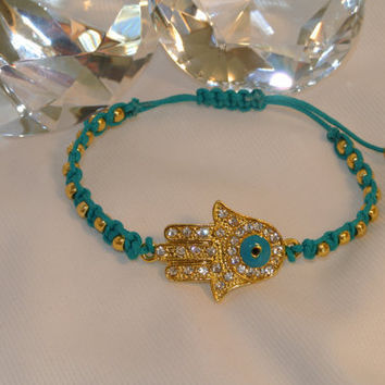 Sparkling Golden Hamsa - Hand Macramed with Gold Beads