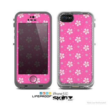 The Pink & Tiny White Floral Pattern Skin for the Apple iPhone 5c LifeProof Case