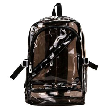Sweety Women Girl Zipped Fashion Transparent Clear Backpack Plastic Bag School Bag Bookbag,Black