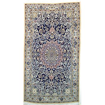 Oriental Nain Silk and Wool Classic Persian Rug, Dark Blue/Beige
