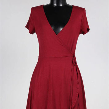 Short Sleeve Wrap Dress/Deep V Plunging Neckline Knit Dress/Summer Knit Women Dress/ ( + Colors )