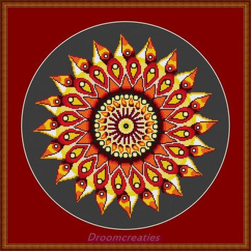 Mandala Teardrops yellow - digital counted crosstitch embroidery pattern - 178 x 177 cross stitches - 32 x 32 cm or 13 x 13 inches