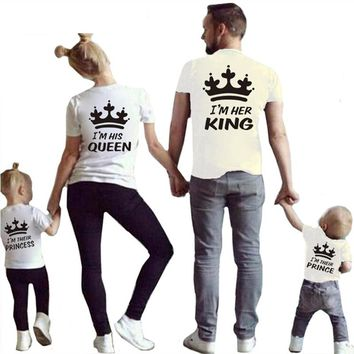 2018 Summer Matching Family Tshirt Cotton Short Sleeve T-shirt King Queen Couples T shirt Crown Printed Casual Solid Top Clothes