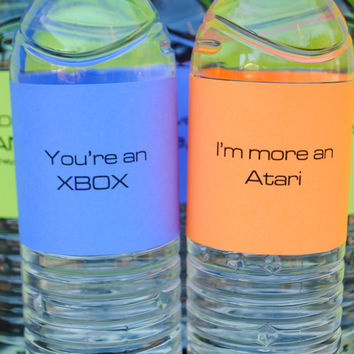 Neon Video Game Water Bottle Labels