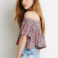 Off-the-Shoulder Ornate Print Top