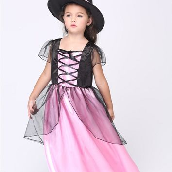 MOONIGHT New Girl Witch Cosplay Costumes Halloween Stage Performance Girl Costumes Vestido Tutu Dress Kids Carnival Party Outfit