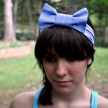 Blue and White Striped Bow Headband