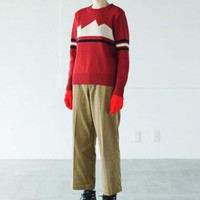 Red Stripe Long-Sleeve Knitted Sweater