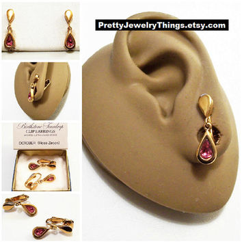 Avon Pink Rose Crystal Teardrop Clip On Earrings Gold Vintage 1977 Austrian Glass October Zircon Birthstone Glass Stone Bezel Set Wide Edge