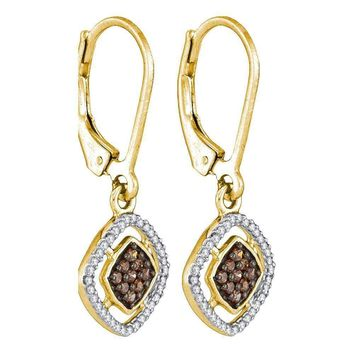 10kt Yellow Gold Women's Round Cognac-brown Color Enhanced Diamond Diagonal Square Dangle Earrings 1-3 Cttw - FREE Shipping (USA/CAN)