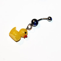 Rubber Ducky Belly Button Ring, Kawaii, Ducks, Navel, Yellow Rubber Duck Jewelry, Belly Piercing
