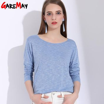 GAREMAY Long Sleeve Female T-Shirts Women Solid Loose Cotton Tee Shirt Femme Summer Bat Sleeves T Shirt Feminina Ladies Tops