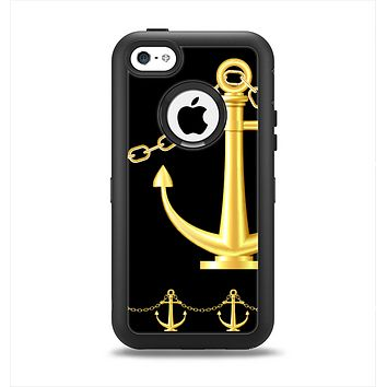 The Gold Linking Chain Anchor Apple iPhone 5c Otterbox Defender Case Skin Set