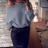 Fashion Womens Off Shoulder Knitted Sweater + Nice Free Necklace
