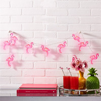 Palm Beach Tropical Pink Flamingo String Lights
