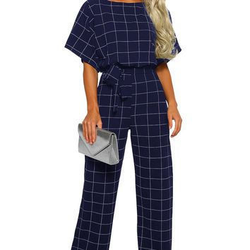 Blue Boat Neck Short Sleeve Checked Belted Wide Leg Jumpsuit