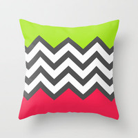 Color Blocked Chevron 5 Throw Pillow by Josrick