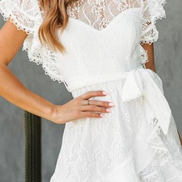 Make Me Happy White Lace Cap Sleeve Round Neck Ruffle Tie Waist Wrap Flare A Line Casual Mini Dress