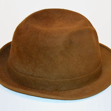 Brown Fedora Style Hat Bond Executive Group size 6 7/8 With Feather Vintage Hat