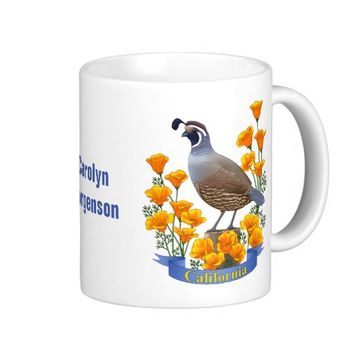California State Bird Quail & Golden Poppy Coffee Mug